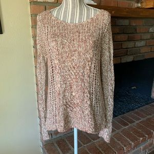 Free People Tan & Beige Knit Pullover Sweater Sz S